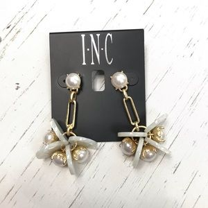 INC Gold Colored Pearl & Marbled Drop Earrings